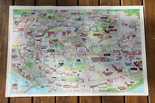 WASHINGTON DC VINTAGE ILLUSTRATED CARTOON MAP ADVERTISING LOCAL BUSINESSES 1986