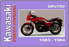 KAWASAKI Parts Manual GPz750 ZX750 1983 and 1984 Replacement Spares Catalog List