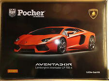 Pocher Lamborghini Aventador LP700-4 Orange Argo 1/8 Diecast Model Car Kit HK100