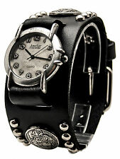 AMSTAR:BLACK HEAVY LEATHER BIKER  STUDS/BUFFALO NICKELS BAND CASE ANALOG WATCH