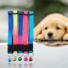 Small Dog Puppy Cat Collar with Bell Glossy Reflective Safety Buckle Pet Collars
