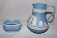 """(2) Wedgwood Blue Jasperware 5"""" Tall PITCHER and a 3 3/8"""" Box with Lid"""