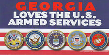 GEORGIA LOVES THE U.S. ARMED SERVICES car MAGNET 4X8 military GA Made in the USA