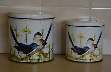 Pair of Vintage WILLOW CANISTERS /TINS 'Variegated Wren' by Robin Hill  Birds