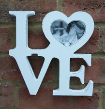 Love Photo Heart Frame White Wood Cut Out Word Sign Ornament Shabby Chic  New