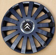 """Black 15"""" wheel trims, Hub Caps, Covers to fit Citroen C3,C4,C5,Picasso"""
