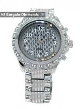 mens big steel CZ ice out textured clubbing watch metal link bracelet master