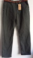 PD&C men size W32 L32 khaki charcoal with brown belt 2% spandex tempered pants