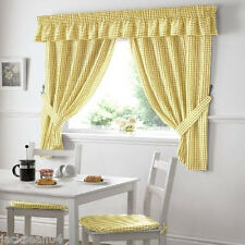 YELLOW GINGHAM EMBROIDERED PELMET TO MATCH KITCHEN CURTAINS L136X W10