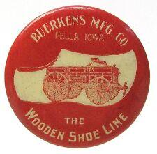 c. 1900 BUERKENS WOODEN SHOE LINE WAGONS farm implement pinback button *