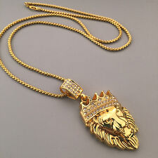 Men Gold Plated Crown Lion Head Pendant Necklace Luxury Collar Jewelry Ornate