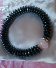 Hematite, Rose Quartz & Links Of London sterling silver rings bracelet NEW- med