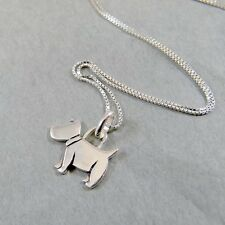 925 Sterling Silver Necklace Scottie Dog Doggy Scottish Terrier Pendant w Box