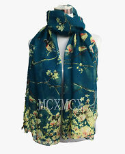 Women Ladies Long Fashion Bird Sparrow Tree Pattern Shawl Scarf Scarves Stole