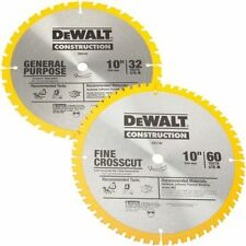 "Dewalt DW3106P5 10"" Saw Blade Set 60 & 32 Tooth 18648"