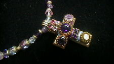 MICHAL GOLAN GOLDTONE, PURPLE & PINK CROSS NECKLACE 16-18""