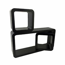Set of 3 BLACK Rectangle Square Cube Wall Shelves Decor Display CD DVD Storage