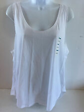 Old Navy womens relaxed tank top XXlarge white rounded hem 100% cotton NEW