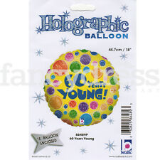 """18"""" 60 Years Young Multi Colour Spots Happy Birthday Foil Balloon Helium NEW"""