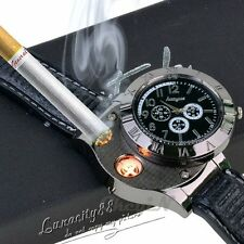 Men USB Electronic Rechargeable Battery Flameless Cigarette Lighter Watches NEW