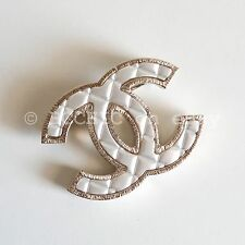 100% auth CHANEL brooch quilted silver gold tone cc logo small + box bag dustbag