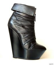 Giuseppe ZANOTTI black leather front zip wedge ANKLE BOOTS 38.5 US 8.5 8 - sexy