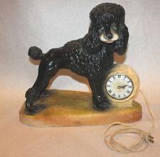 Antique black poodle mantle clock sculpture electric vintage cast plaster dog
