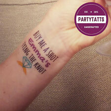 11 HEN PARTY TEMPORARY TATTOO. PERSONALISED HEN NIGHT TATTOOS (x10) +1 FOR BRIDE