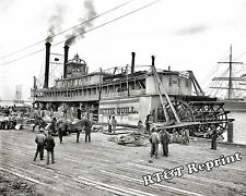 Photograph Vintage Paddle Wheel Steamship Nettie Quill Mobile Alabama 1905c 8x10