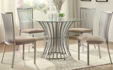 NEW 5PC HENLEY II CONTEMPORARY ROUND GLASS SILVER FINISH METAL DINING TABLE SET