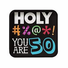 "8 Holy Bleep! 50th Happy Birthday Party Small 7"" Square Paper Plates"