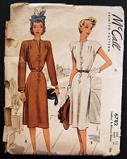 Vintage Original McCall 40's Afternoon Dress Pattern No. 6782