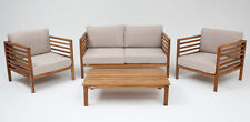 Malmo 4 piece timber lounge setting natural/taupe