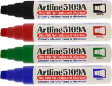 Artline 5109A Whiteboard Drywipe Marker Pen Thick Chunky Broad - Pack 4 Colours