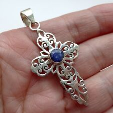 Treated SAPPHIRE Solid 925 STERLING SILVER Gemstone CROSS Pendant Jewellery