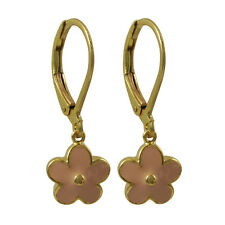 Pink Enamel Flower Gold-Plated Kids Dangle Leverback Earrings