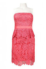NWT Adrianna Papell Evening Strapless Peplum Lace Dress sz 4 Coral