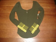 NEW WE THE FREE PEOPLE OLIVE GREEN PACKER MOD STRIPE EYE HOOK CUFF THERMAL - S