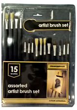 PROFESSIONAL ARTIST PAINT BRUSH 15PC SET WOOD HANDLE FOR DRAWINGS ARTS PAINTINGS