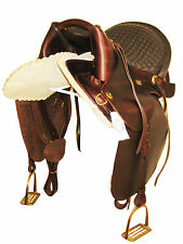 """""""THSL"""" LEATHER ARABIAN SADDLE OIL BROWN STITCHED PADDED  SEAT 18"""" (TRA_1001)"""