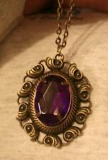 Swirl Seashells Rim Raised Purple Rhinestone Rectangle Brasstne Pendant Necklace