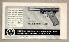 1954 Print Ad Ruger Automatic .22 Caliber Hand Gun Pistol Southport,CT