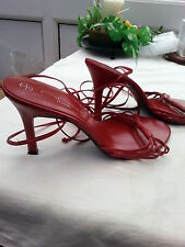 "New Look red strappy shoes - Size 6 - 4"" heel"
