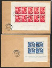 Netherlands covers 1942 NVPH 402B-403B Legion SHEETS on 2 covers  CANC  VF