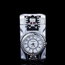 Multifunctional Skull Cigarette Lighter Silver Quartz Watch For Men