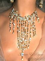 Artisan Handcrafted One Of A Kind  MOONSTONE & NATURAL PEARLS BIB/NECKLACE SET