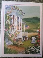 VTG USA Blank Greeting Card Betty Giroux Artwork American Flag w/ Envelope