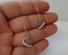 925 STERLING SILVER DANGLING HEART EARRINGS W/ .50 CT ACCENTS / 36MM BY 17MM