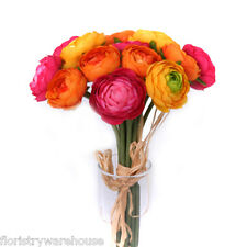 Ranunculus Bundle 14 Mini Orange, Yellow and Pink Flowers 27cm/10.5 Inches