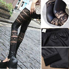 Sexy Gothic Punk Lace Feax Leather Stretch Pants Women's Leggings Black Tights